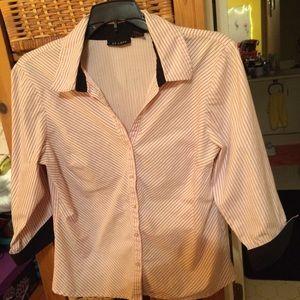 At Last Button Down Shirt pink w/black pin stripe